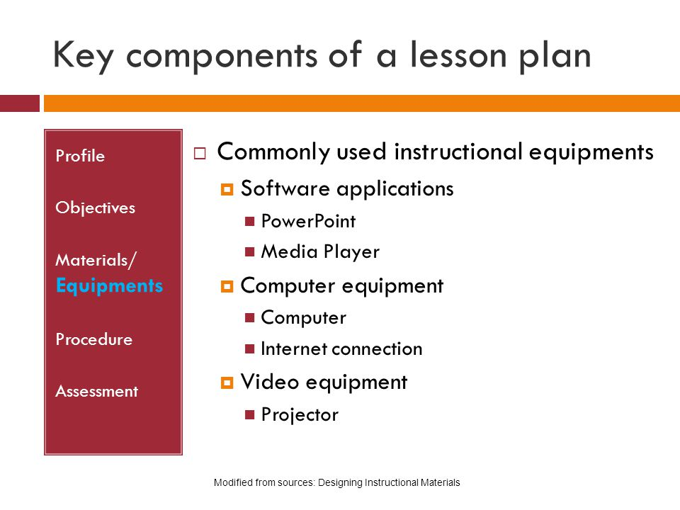 Key components of a lesson plan Profile Objectives Materials/ Equipments Procedure Assessment  Commonly used instructional equipments  Software appl