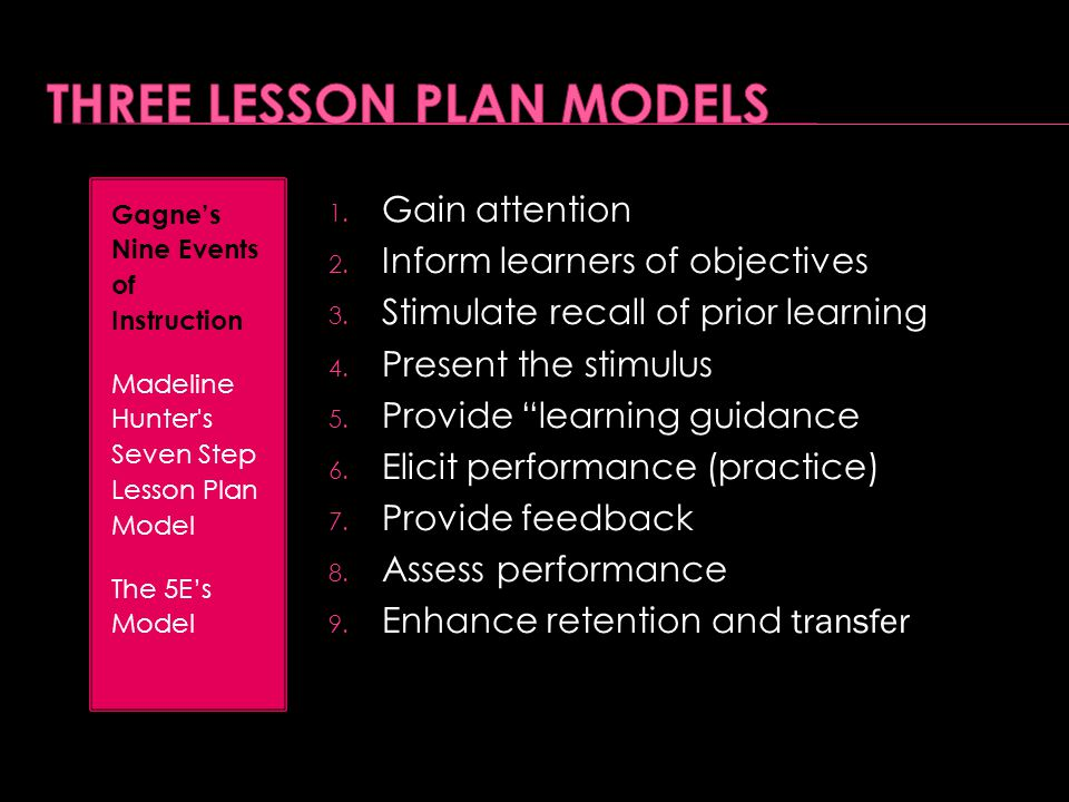 """1. Gain attention 2. Inform learners of objectives 3. Stimulate recall of prior learning 4. Present the stimulus 5. Provide """"learning guidance 6. Elic"""