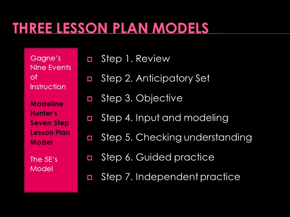  Step 1. Review  Step 2. Anticipatory Set  Step 3. Objective  Step 4. Input and modeling  Step 5. Checking understanding  Step 6. Guided practic