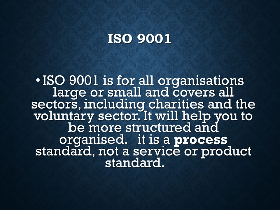 ISO 9000 ISO 9000 Is an international standard that many companies use to ensure that their quality assurance system is in place and effective. Confor
