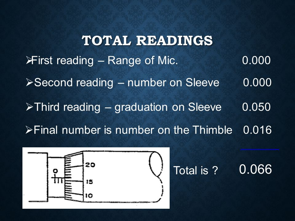 """RECORDING MEASUREMENT FROM SAMPLE READING  First reading – Range of Mic. 0 – 1"""" so the first number would be 0.000  Second reading – number on Sleev"""