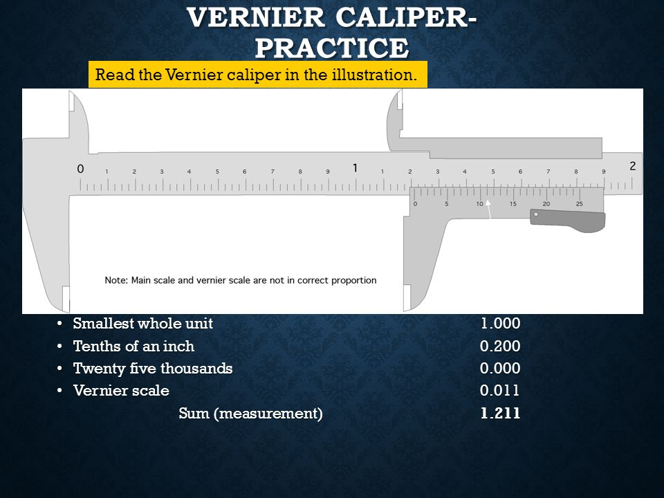 VERNIER SCALE The reference point is the 0 on the vernier scale. The reference point is the 0 on the vernier scale. To read a Vernier, the line of coi