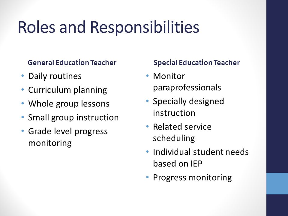 Roles and Responsibilities General Education Teacher Daily routines Curriculum planning Whole group lessons Small group instruction Grade level progre