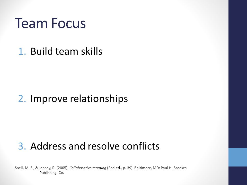 Team Focus 1.Build team skills 2.Improve relationships 3.Address and resolve conflicts Snell, M. E., & Janney, R. (2005). Collaborative teaming (2nd e