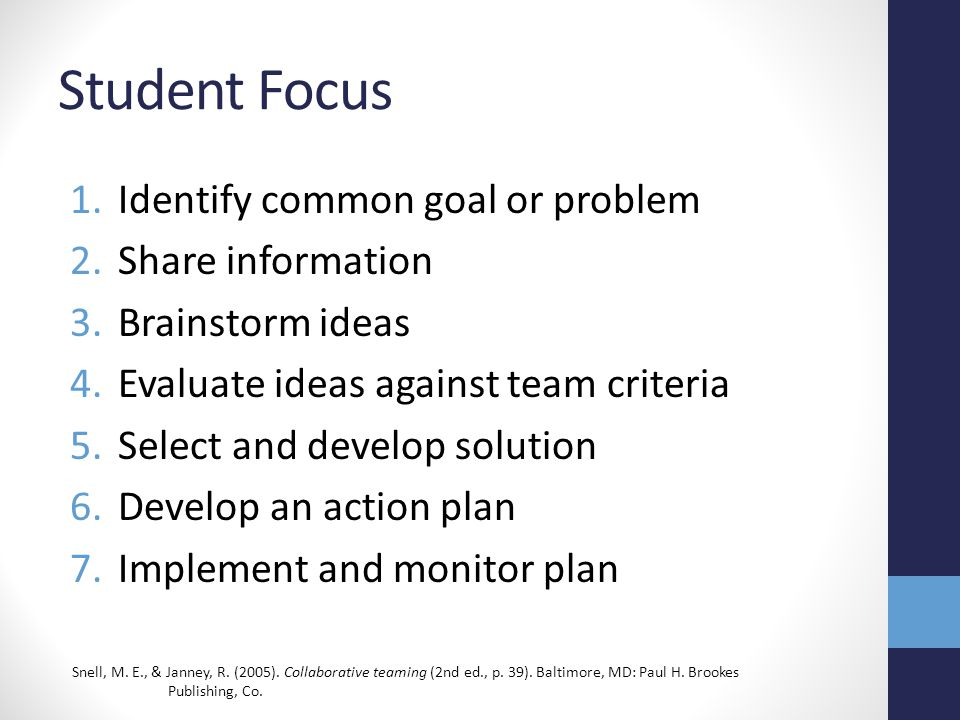 Student Focus 1.Identify common goal or problem 2.Share information 3.Brainstorm ideas 4.Evaluate ideas against team criteria 5.Select and develop sol