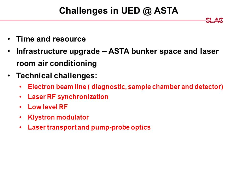 Challenges in UED @ ASTA Time and resource Infrastructure upgrade – ASTA bunker space and laser room air conditioning Technical challenges: Electron b