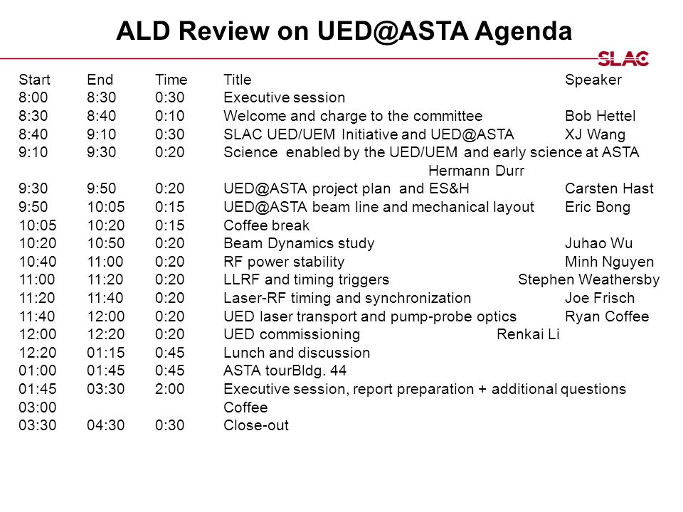 ALD Review on UED@ASTA Agenda StartEndTimeTitleSpeaker ​​​ 8:00 ​​ 8:30 ​​ 0:30Executive session ​ ​​​ 8:30 ​ 8:40 ​ 0:10 ​ Welcome and charge to the