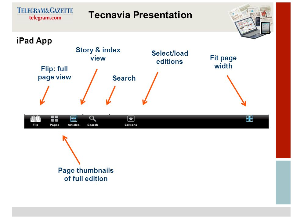 11 Tecnavia iPad App Flip: full page view Page thumbnails of full edition Story & index view Search Select/load editions Fit page width Tecnavia Presentation