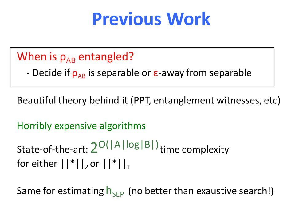 Previous Work When is ρ AB entangled.