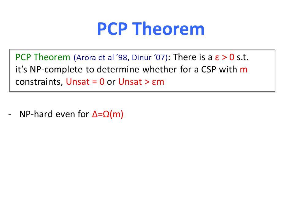 PCP Theorem PCP Theorem (Arora et al '98, Dinur '07) : There is a ε > 0 s.t.
