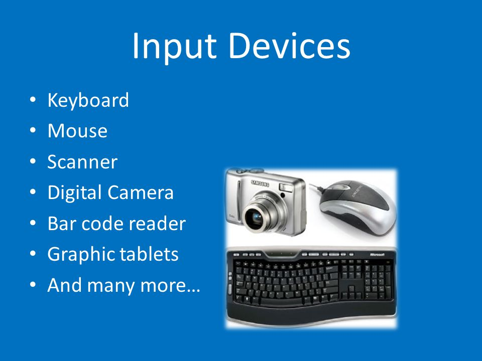 Input Devices Keyboard Mouse Scanner Digital Camera Bar code reader Graphic tablets And many more…