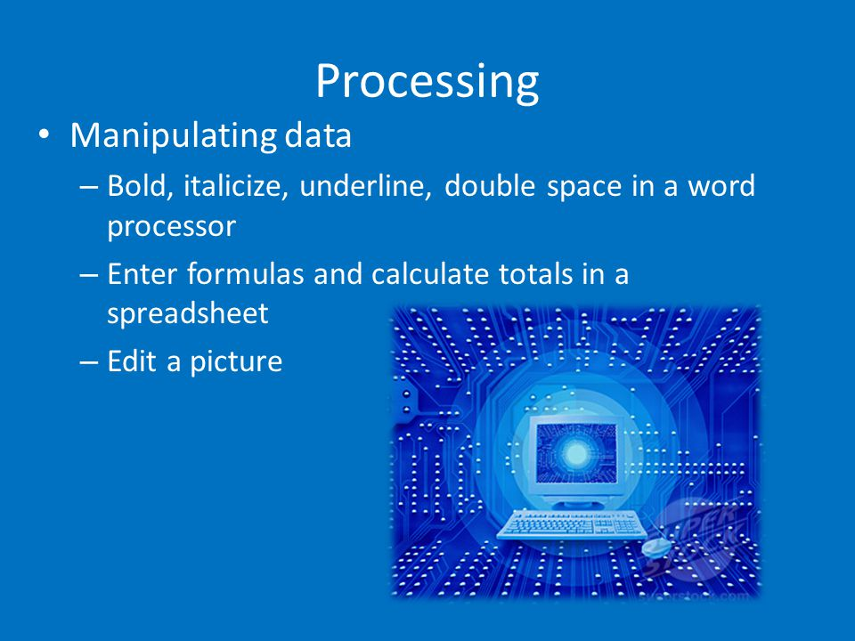 Storage The place where data is held when it is not needed for processing Storage Devices are computer components capable of storing digital data Examples of Storage Devices: – Floppy Disk (almost obsolete) – Hard Drive – CD, DVD – Flash Drive