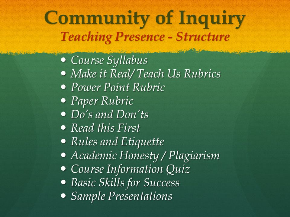 Community of Inquiry Teaching Presence - Structure Course Syllabus Course Syllabus Make it Real/ Teach Us Rubrics Make it Real/ Teach Us Rubrics Power Point Rubric Power Point Rubric Paper Rubric Paper Rubric Do's and Don'ts Do's and Don'ts Read this First Read this First Rules and Etiquette Rules and Etiquette Academic Honesty / Plagiarism Academic Honesty / Plagiarism Course Information Quiz Course Information Quiz Basic Skills for Success Basic Skills for Success Sample Presentations Sample Presentations