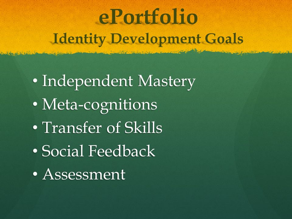 ePortfolio Identity Development Goals Independent Mastery Independent Mastery Meta-cognitions Meta-cognitions Transfer of Skills Transfer of Skills Social Feedback Social Feedback Assessment Assessment