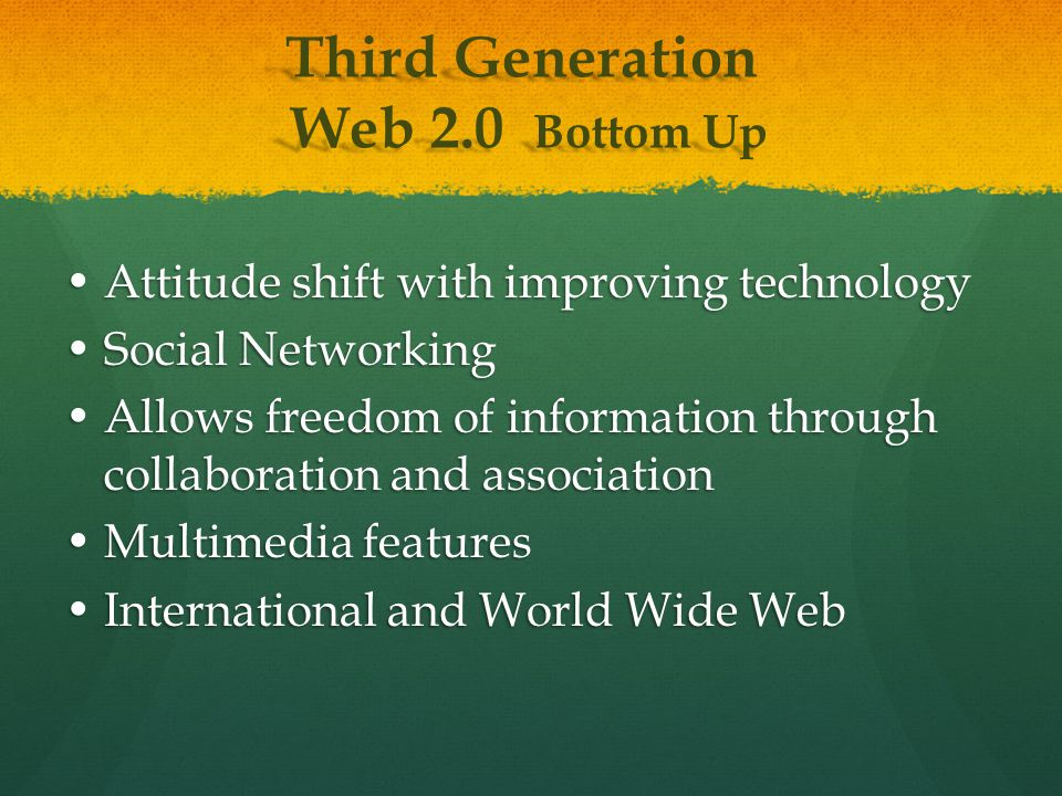 Attitude shift with improving technologyAttitude shift with improving technology Social NetworkingSocial Networking Allows freedom of information through collaboration and associationAllows freedom of information through collaboration and association Multimedia featuresMultimedia features International and World Wide WebInternational and World Wide Web Third Generation Web 2.0 Bottom Up Web 2.0 Bottom Up