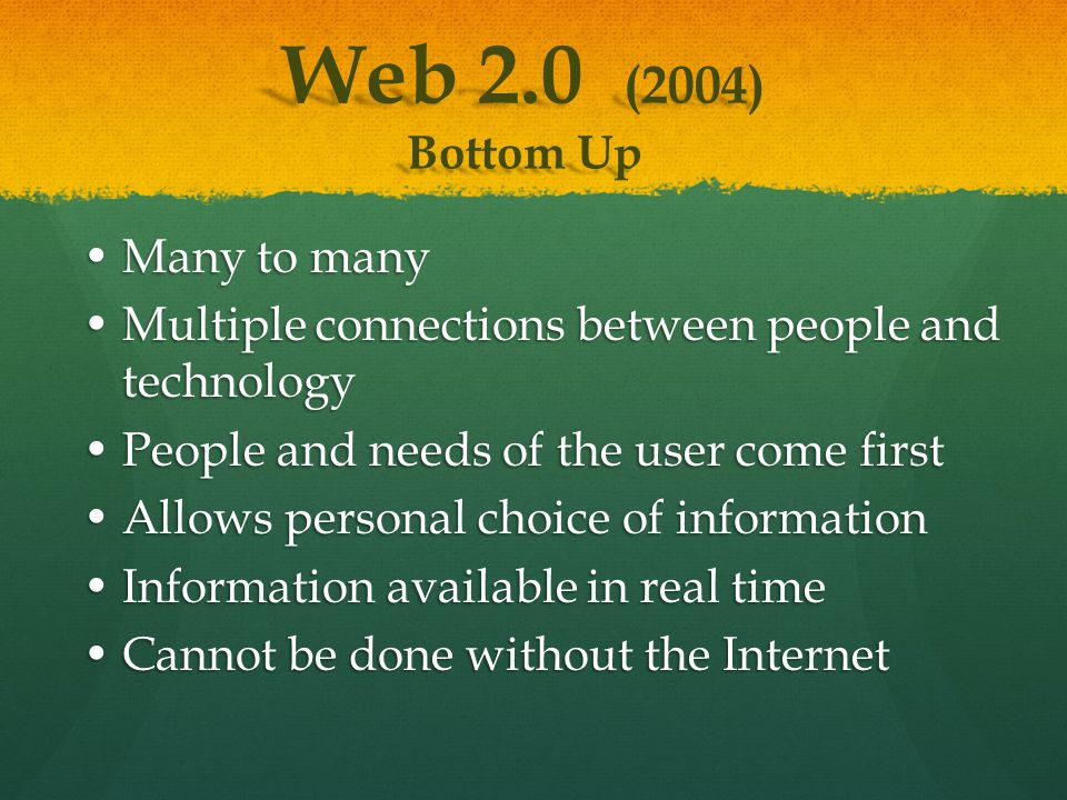 Many to manyMany to many Multiple connections between people and technologyMultiple connections between people and technology People and needs of the user come firstPeople and needs of the user come first Allows personal choice of informationAllows personal choice of information Information available in real timeInformation available in real time Cannot be done without the InternetCannot be done without the Internet Web 2.0 (2004) Bottom Up
