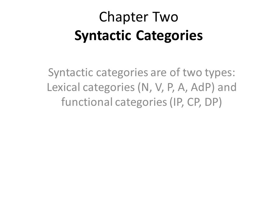 Chapter Two Syntactic Categories Syntactic categories are of two types: Lexical categories (N, V, P, A, AdP) and functional categories (IP, CP, DP)