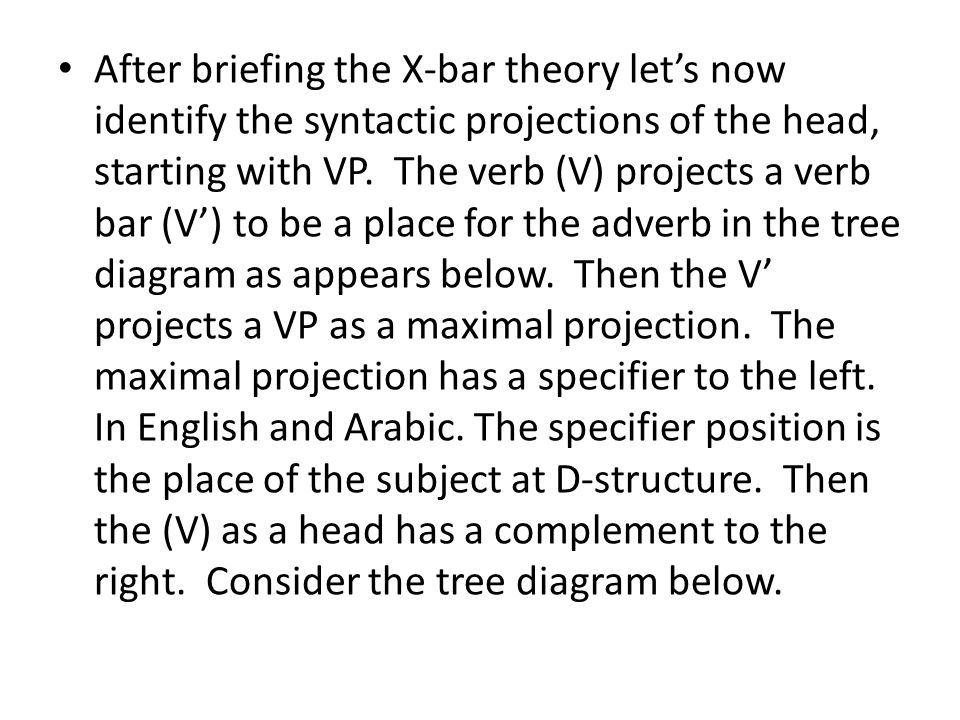 After briefing the X-bar theory let's now identify the syntactic projections of the head, starting with VP.