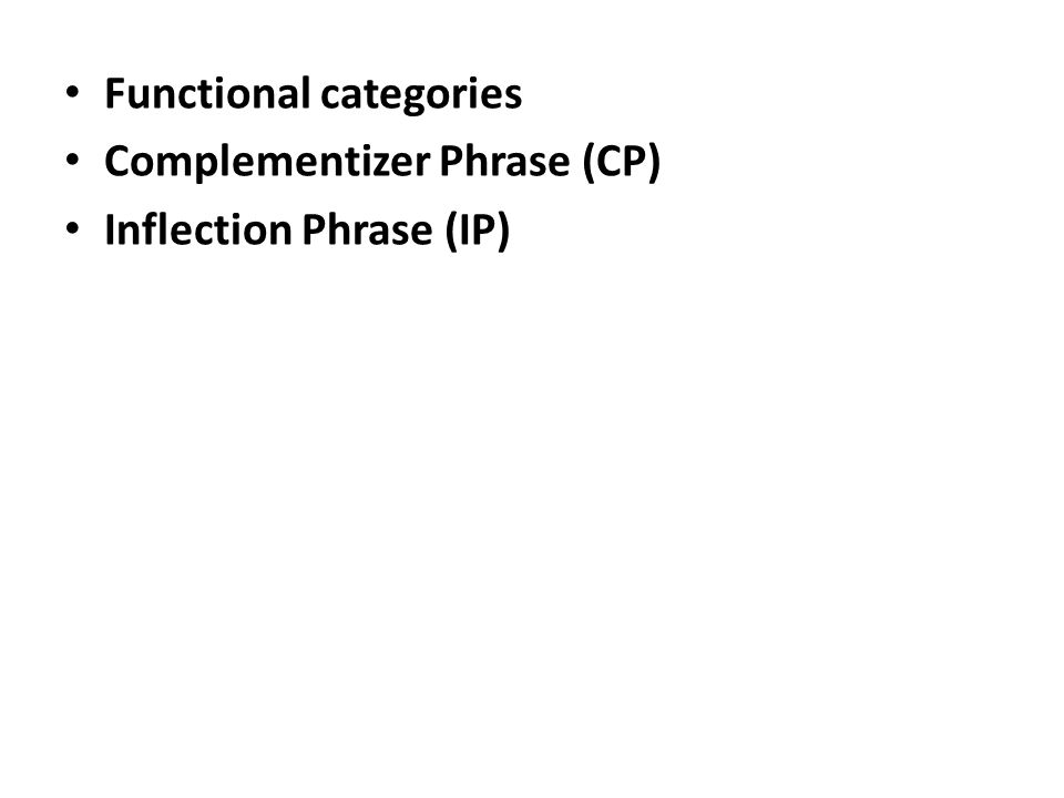 Functional categories Complementizer Phrase (CP) Inflection Phrase (IP)