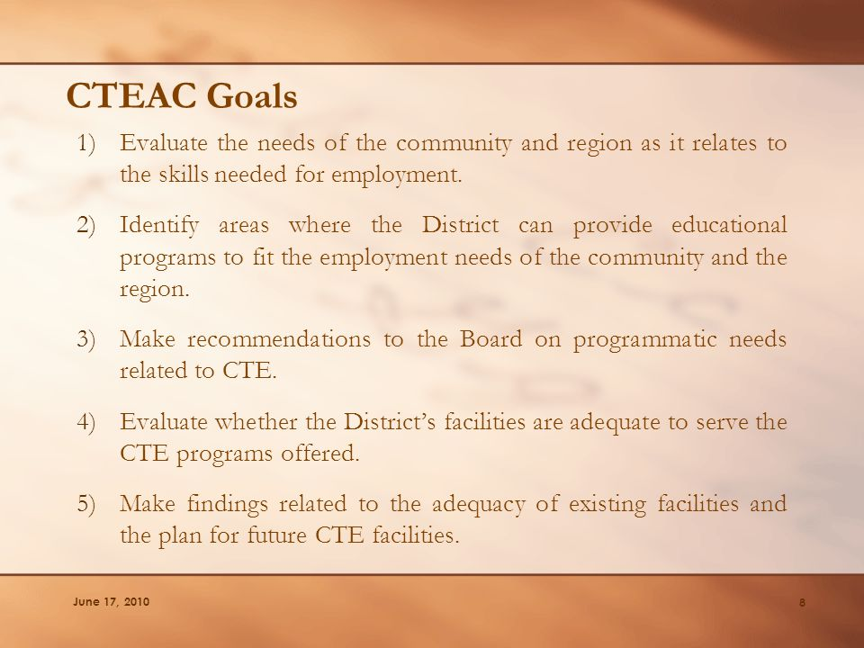 CTEAC Goals 1)Evaluate the needs of the community and region as it relates to the skills needed for employment. 2)Identify areas where the District ca