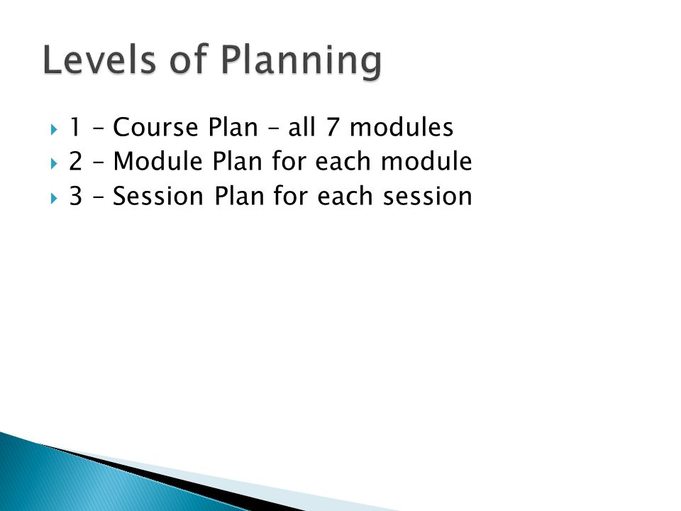  1 – Course Plan – all 7 modules  2 – Module Plan for each module  3 – Session Plan for each session