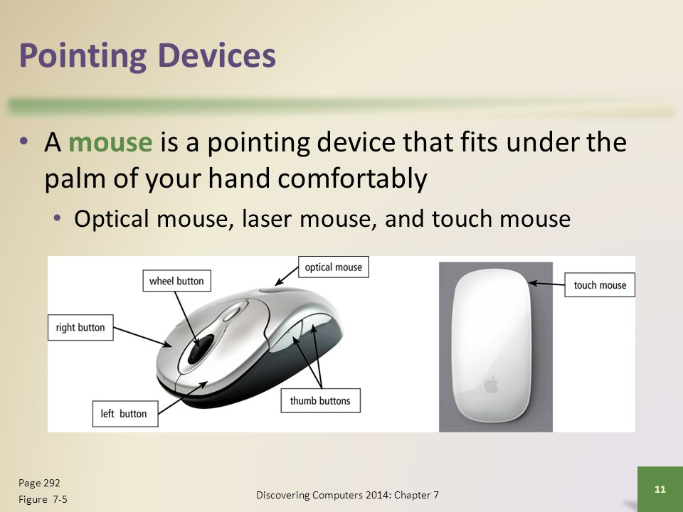 Pointing Devices A mouse is a pointing device that fits under the palm of your hand comfortably Optical mouse, laser mouse, and touch mouse Discoverin