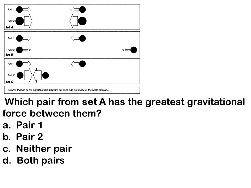 s Which pair in set B has the least gravitational force between them.