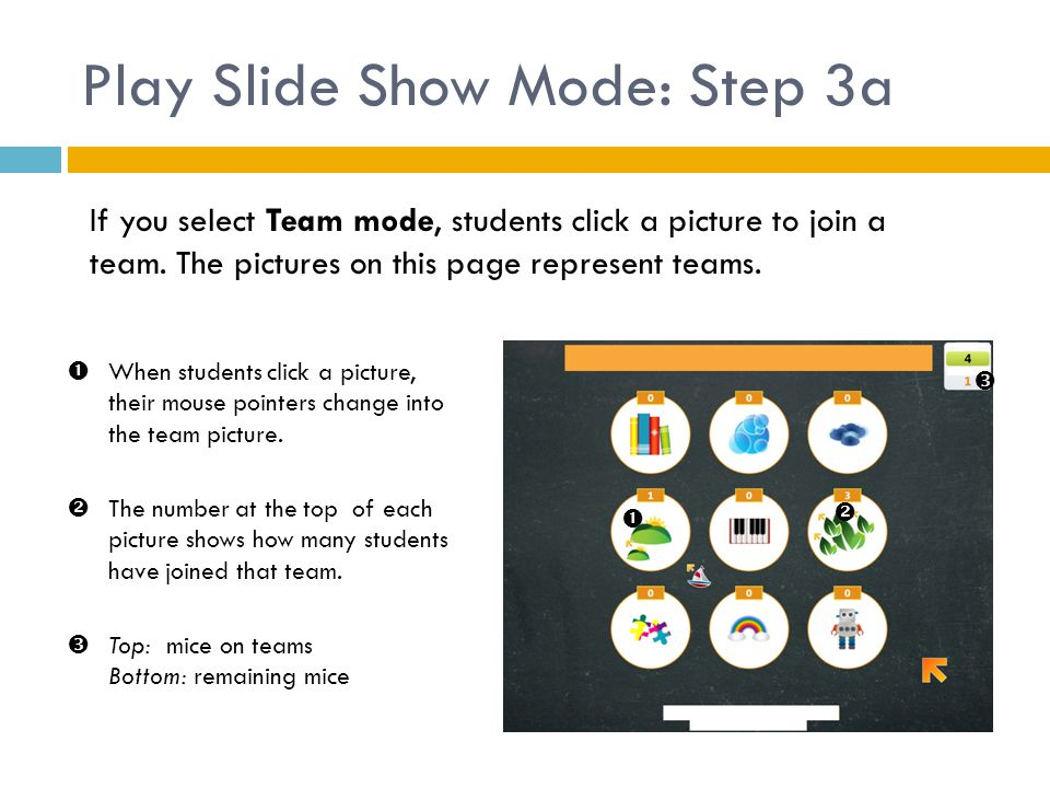 Play Slide Show Mode: Step 3a If you select Team mode, students click a picture to join a team. The pictures on this page represent teams.    When