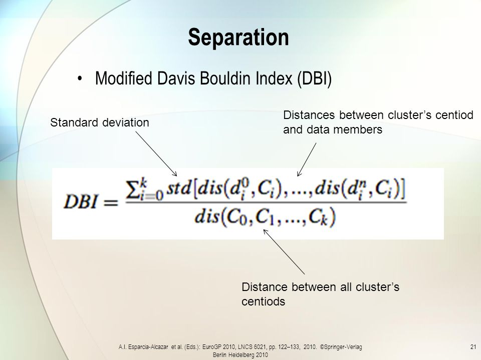 Separation Modified Davis Bouldin Index (DBI) A.I.