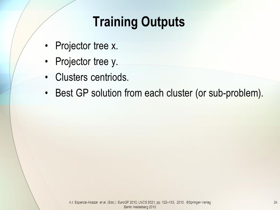 Training Outputs Projector tree x. Projector tree y.