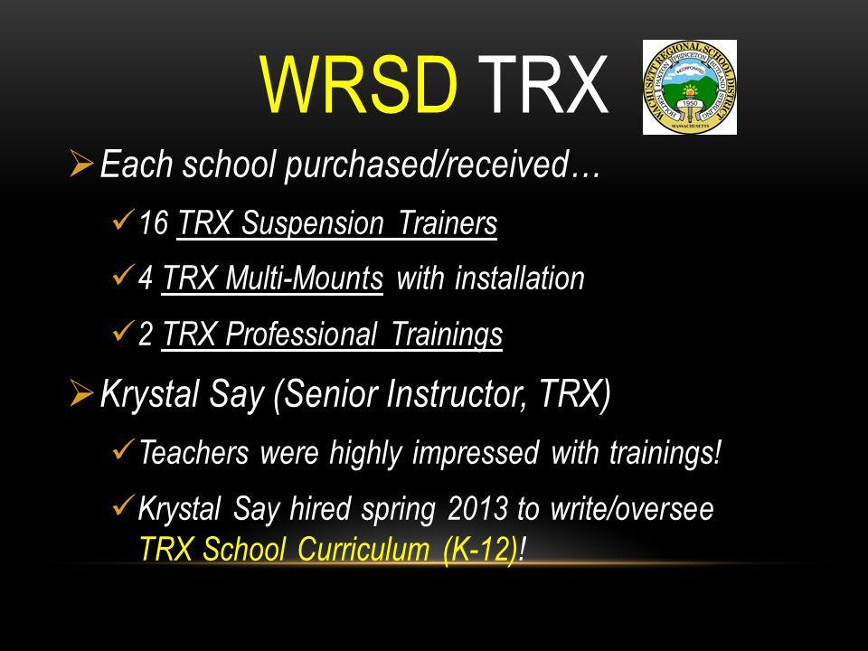 WRSD TRX  Each school purchased/received… 16 TRX Suspension Trainers 4 TRX Multi-Mounts with installation 2 TRX Professional Trainings  Krystal Say