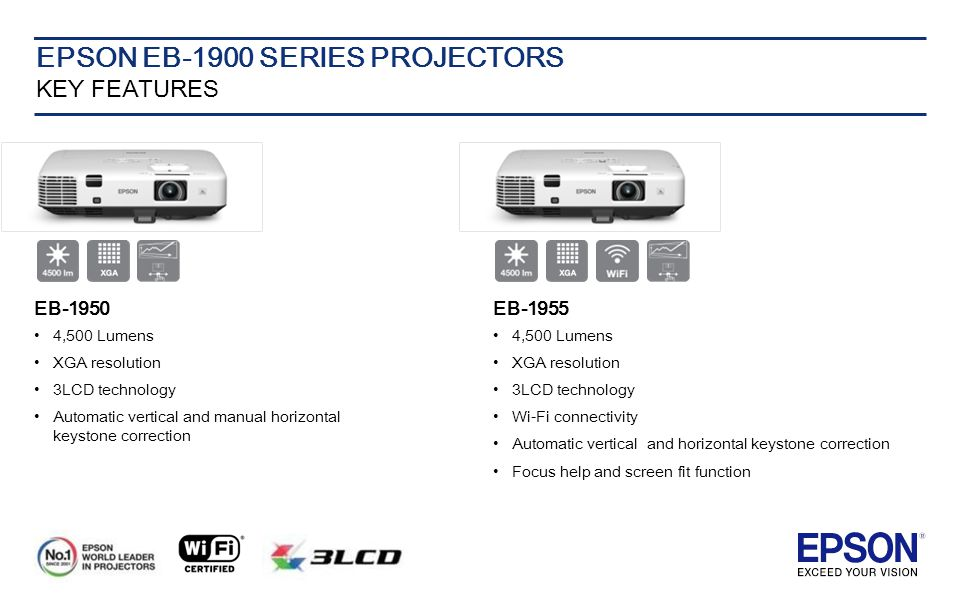 EPSON EB-1900 SERIES PROJECTORS KEY FEATURES EB-1950 4,500 Lumens XGA resolution 3LCD technology Automatic vertical and manual horizontal keystone correction EB-1955 4,500 Lumens XGA resolution 3LCD technology Wi-Fi connectivity Automatic vertical and horizontal keystone correction Focus help and screen fit function