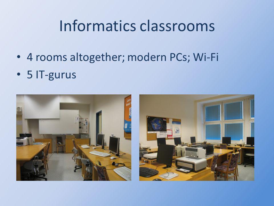 Informatics classrooms 4 rooms altogether; modern PCs; Wi-Fi 5 IT-gurus
