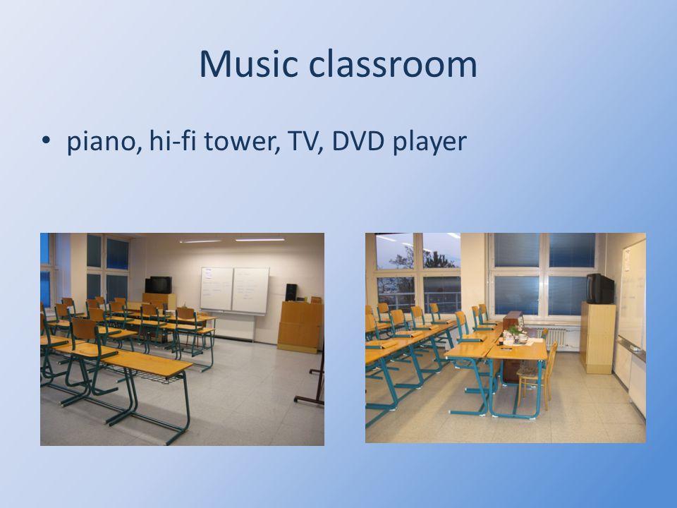 Music classroom piano, hi-fi tower, TV, DVD player
