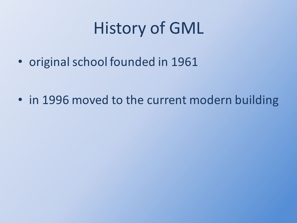 GML Gymnázium of Mathyas Lerch abbreviated to GML nearly 800 students and 80 teachers all three types of study - 8, 6 and 4 years one of the most well known high schools in Brno