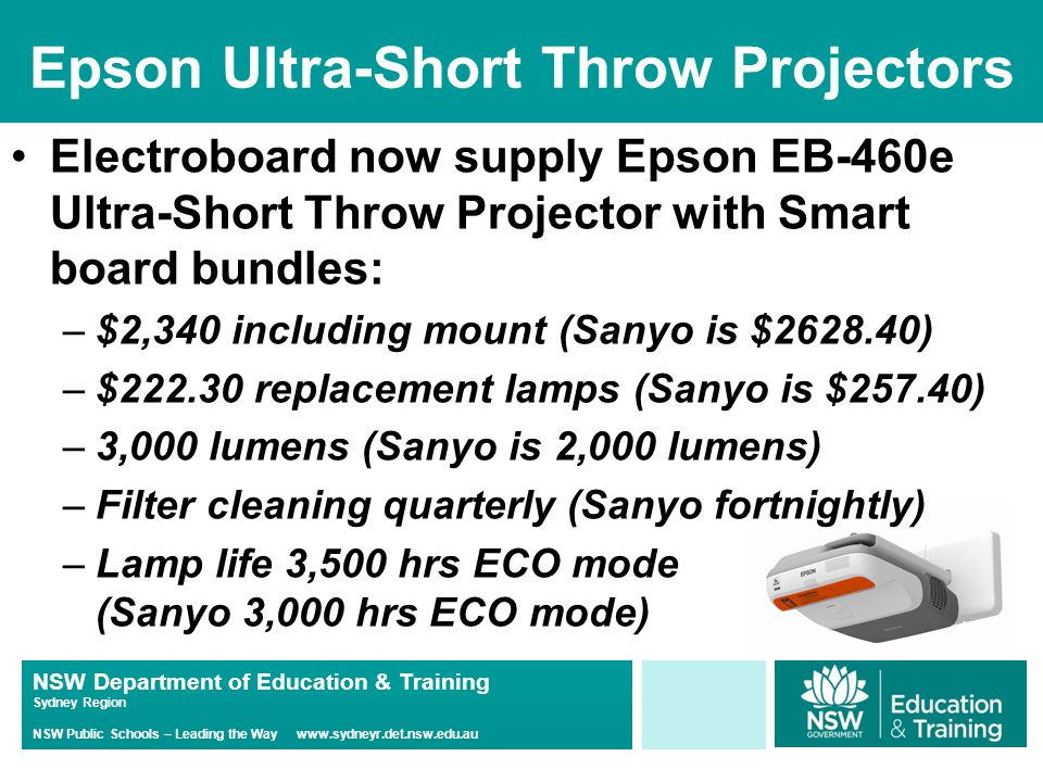 NSW Department of Education & Training Sydney Region NSW Public Schools – Leading the Way www.sydneyr.det.nsw.edu.au Epson Ultra-Short Throw Projectors Electroboard now supply Epson EB-460e Ultra-Short Throw Projector with Smart board bundles: –$2,340 including mount (Sanyo is $2628.40) –$222.30 replacement lamps (Sanyo is $257.40) –3,000 lumens (Sanyo is 2,000 lumens) –Filter cleaning quarterly (Sanyo fortnightly) –Lamp life 3,500 hrs ECO mode (Sanyo 3,000 hrs ECO mode)