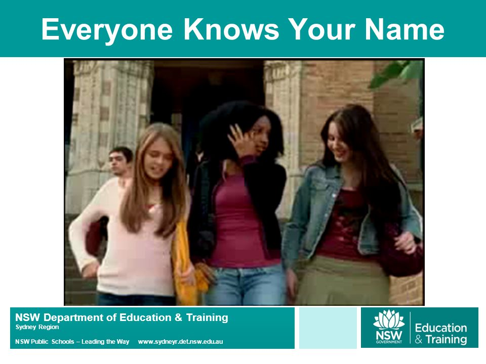 NSW Department of Education & Training Sydney Region NSW Public Schools – Leading the Way www.sydneyr.det.nsw.edu.au Everyone Knows Your Name