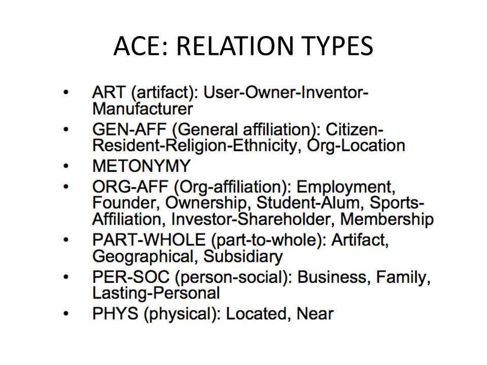 ACE: RELATION TYPES