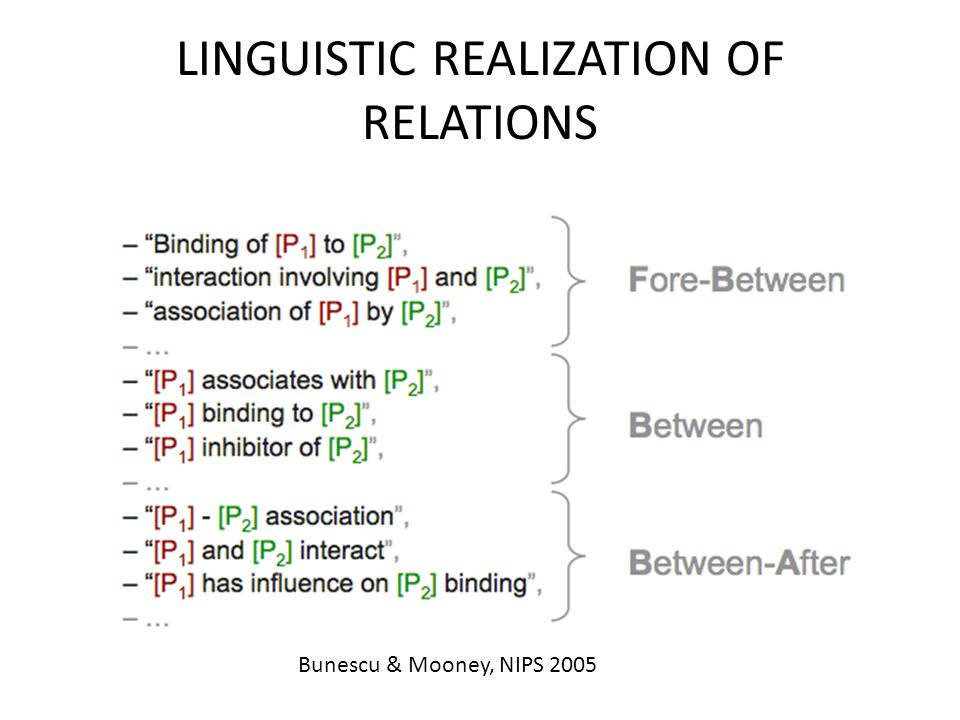 LINGUISTIC REALIZATION OF RELATIONS Bunescu & Mooney, NIPS 2005
