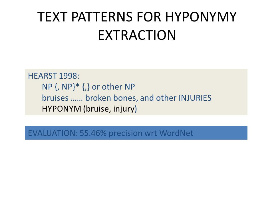 TEXT PATTERNS FOR HYPONYMY EXTRACTION HEARST 1998: NP {, NP}* {,} or other NP bruises …… broken bones, and other INJURIES HYPONYM (bruise, injury) EVALUATION: 55.46% precision wrt WordNet