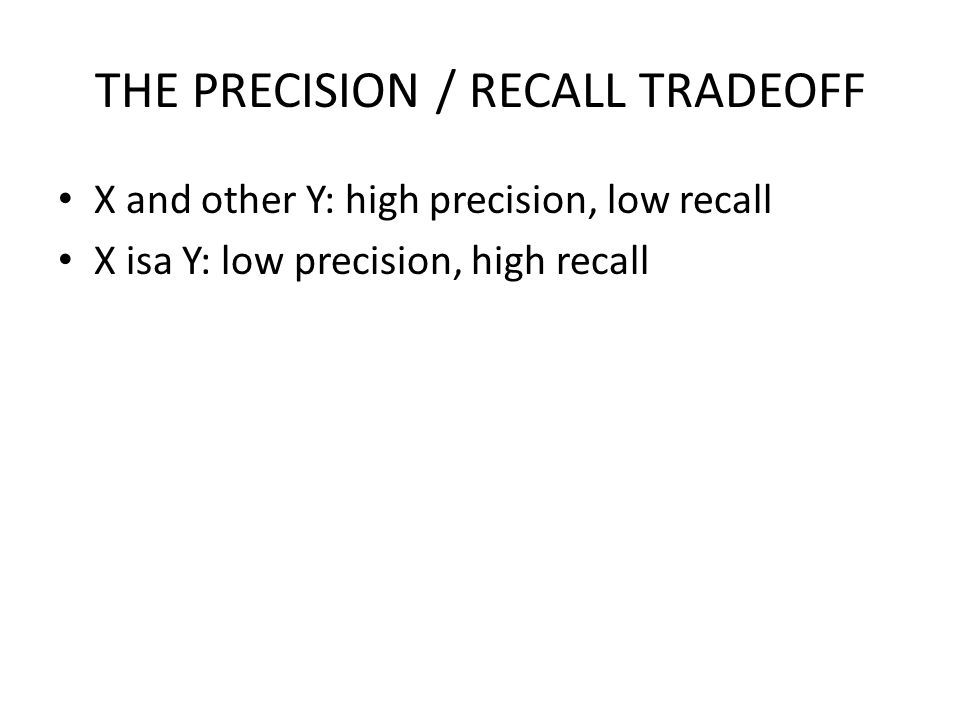 THE PRECISION / RECALL TRADEOFF X and other Y: high precision, low recall X isa Y: low precision, high recall