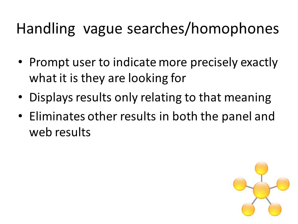 Handling vague searches/homophones Prompt user to indicate more precisely exactly what it is they are looking for Displays results only relating to that meaning Eliminates other results in both the panel and web results