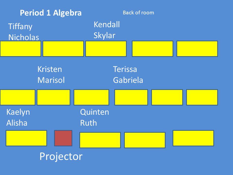 Period 1 Algebra Projector Back of room Kaelyn Alisha Quinten Ruth Kristen Marisol Terissa Gabriela Tiffany Nicholas Kendall Skylar
