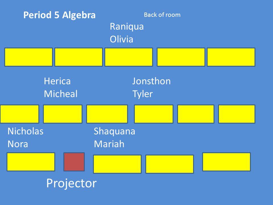 Period 5 Algebra Projector Back of room Nicholas Nora Shaquana Mariah Herica Micheal Jonsthon Tyler Raniqua Olivia