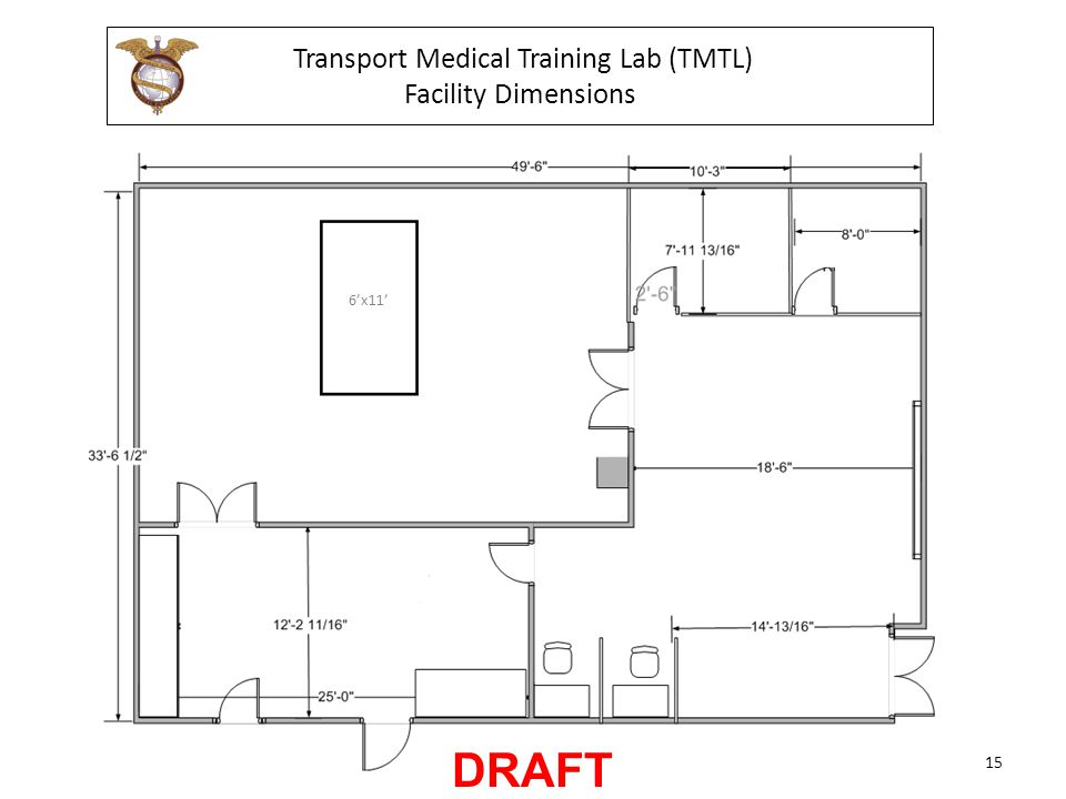 Transport Medical Training Lab (TMTL) Facility Dimensions 6'x11' 15 DRAFT
