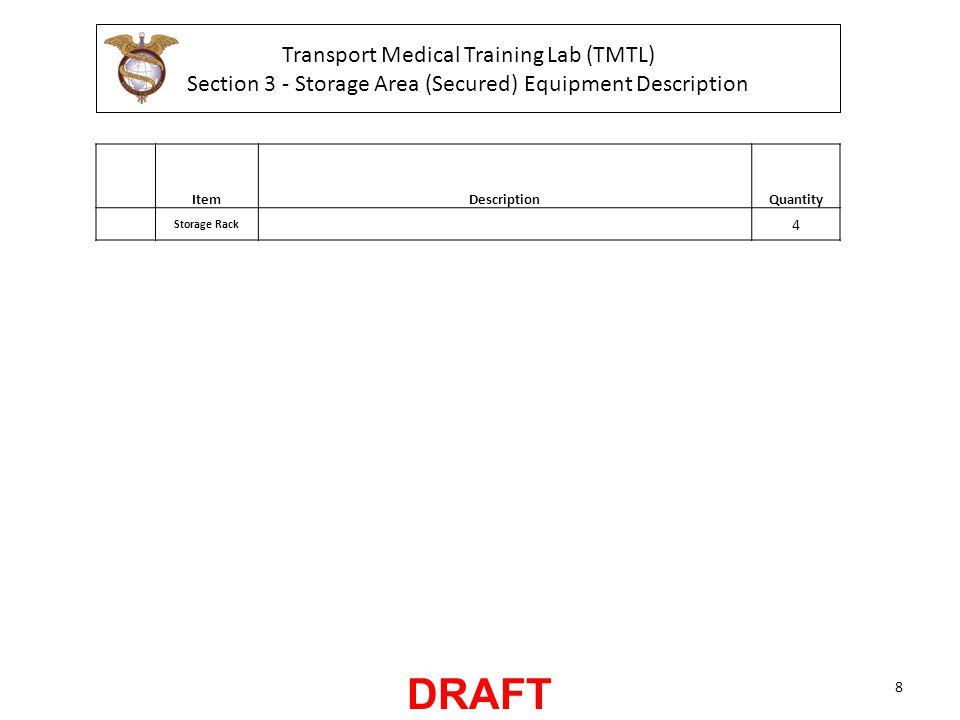 Transport Medical Training Lab (TMTL) Section 3 - Storage Area (Secured) Equipment Description ItemDescriptionQuantity Storage Rack 4 8 DRAFT