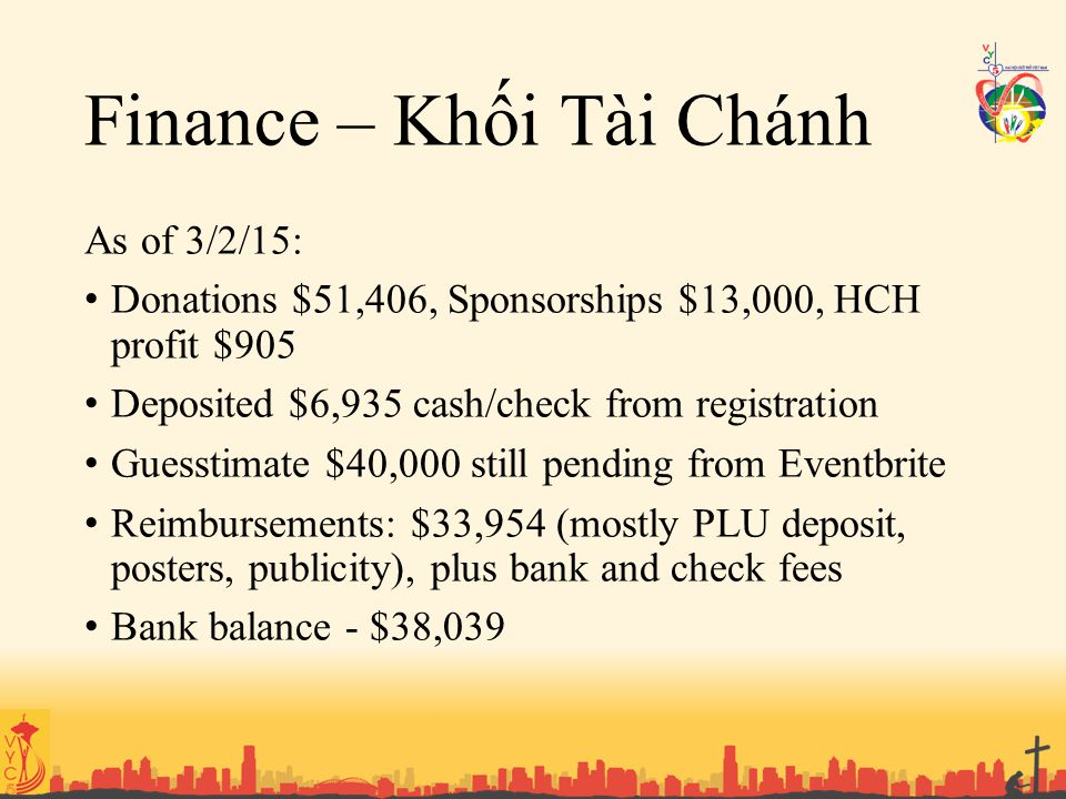 Finance – Khối Tài Chánh As of 3/2/15: Donations $51,406, Sponsorships $13,000, HCH profit $905 Deposited $6,935 cash/check from registration Guess
