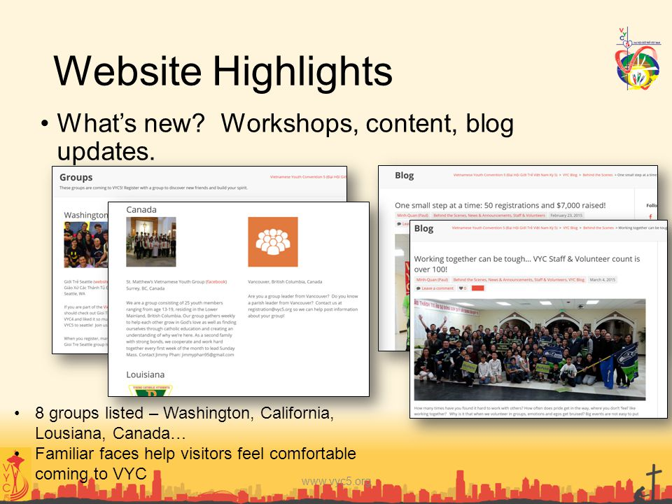 Website Highlights What's new? Workshops, content, blog updates. www.vyc5.org 8 groups listed – Washington, California, Lousiana, Canada… Familiar fac