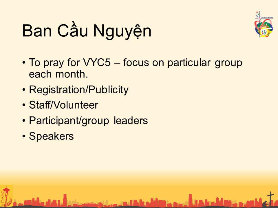 Ban Cầu Nguyện To pray for VYC5 – focus on particular group each month. Registration/Publicity Staff/Volunteer Participant/group leaders Speakers