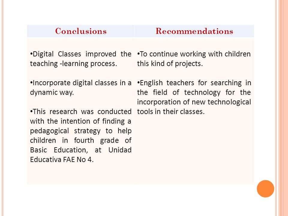 ConclusionsRecommendations Digital Classes improved the teaching -learning process.